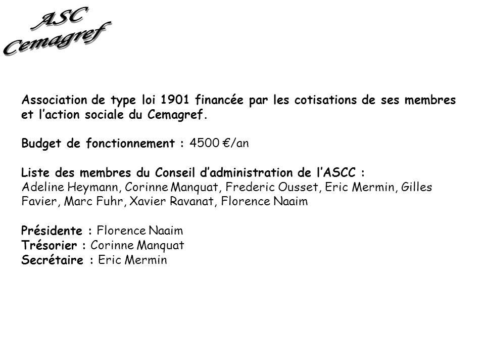 Association de type loi 1901 financée par les cotisations de ses membres et laction sociale du Cemagref. Budget de fonctionnement : 4500 /an Liste des