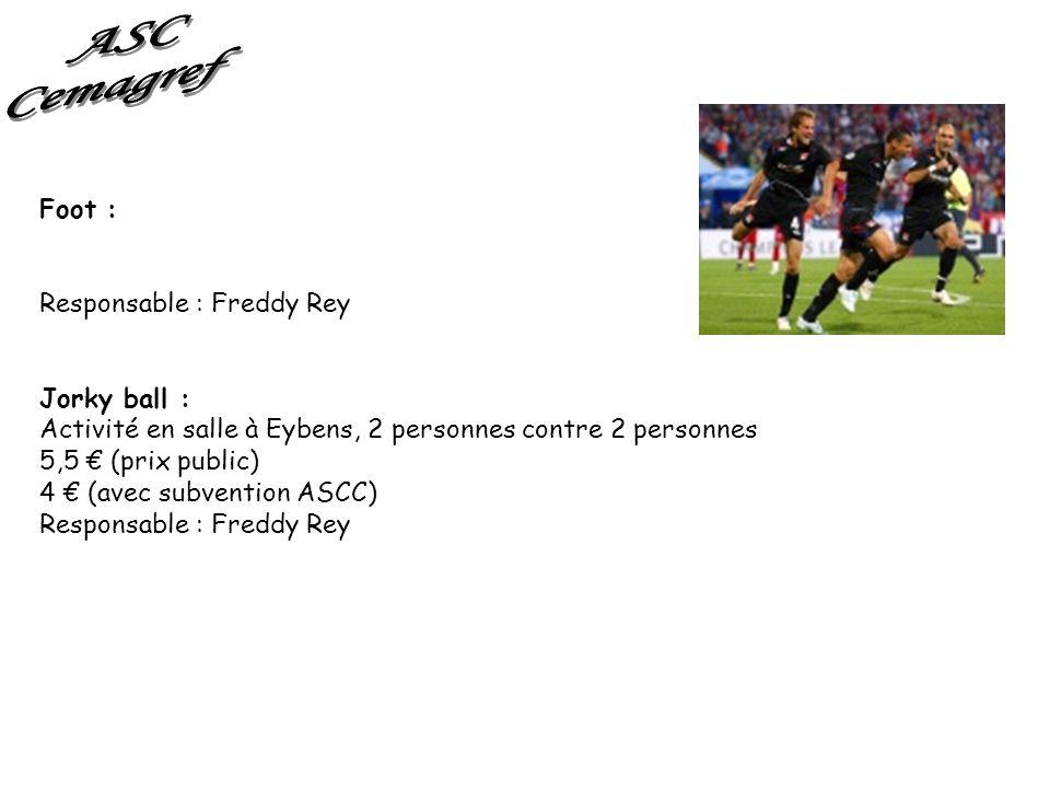 Foot : Responsable : Freddy Rey Jorky ball : Activité en salle à Eybens, 2 personnes contre 2 personnes 5,5 (prix public) 4 (avec subvention ASCC) Res