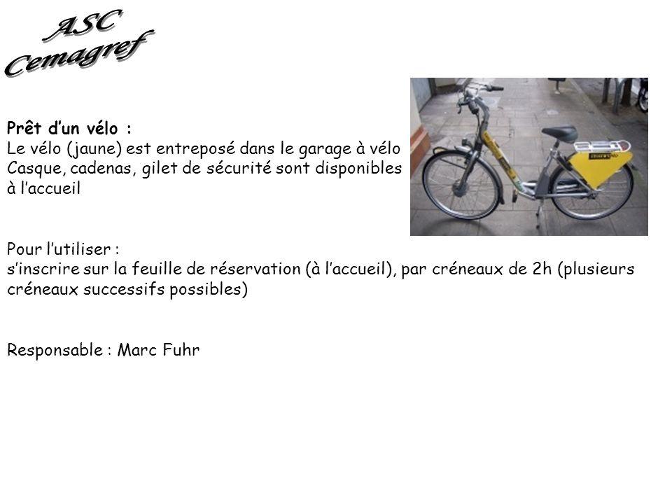 Prêt dun vélo : Le vélo (jaune) est entreposé dans le garage à vélo Casque, cadenas, gilet de sécurité sont disponibles à laccueil Pour lutiliser : si