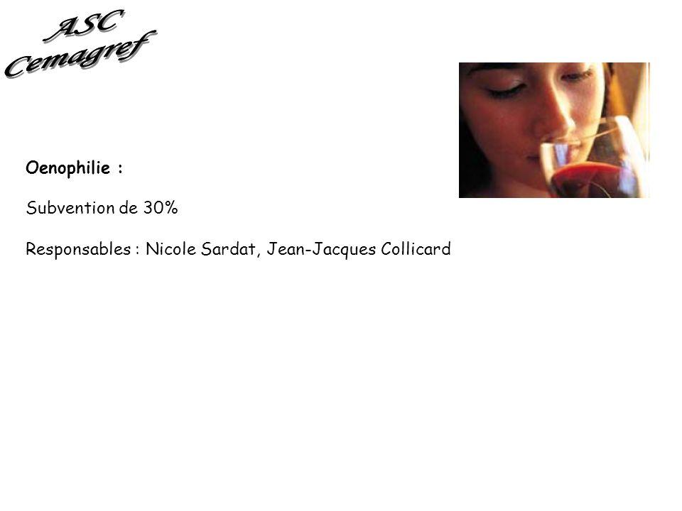 Oenophilie : Subvention de 30% Responsables : Nicole Sardat, Jean-Jacques Collicard