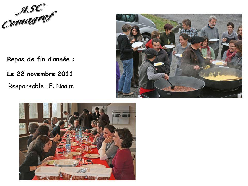 Repas de fin dannée : Le 22 novembre 2011 Responsable : F. Naaim