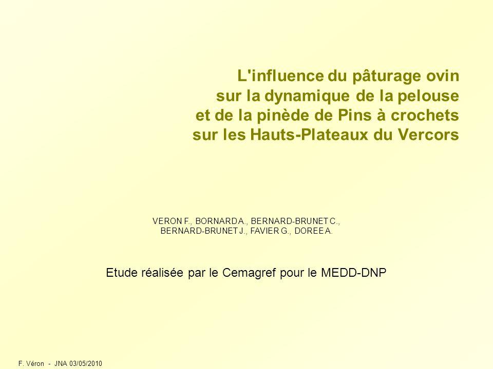 F. Véron - JNA 03/05/2010 L'influence du pâturage ovin sur la dynamique de la pelouse et de la pinède de Pins à crochets sur les Hauts-Plateaux du Ver