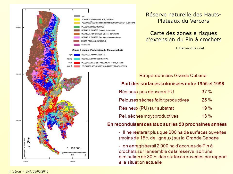 F. Véron - JNA 03/05/2010 Réserve naturelle des Hauts- Plateaux du Vercors Carte des zones à risques dextension du Pin à crochets Rappel données Grand