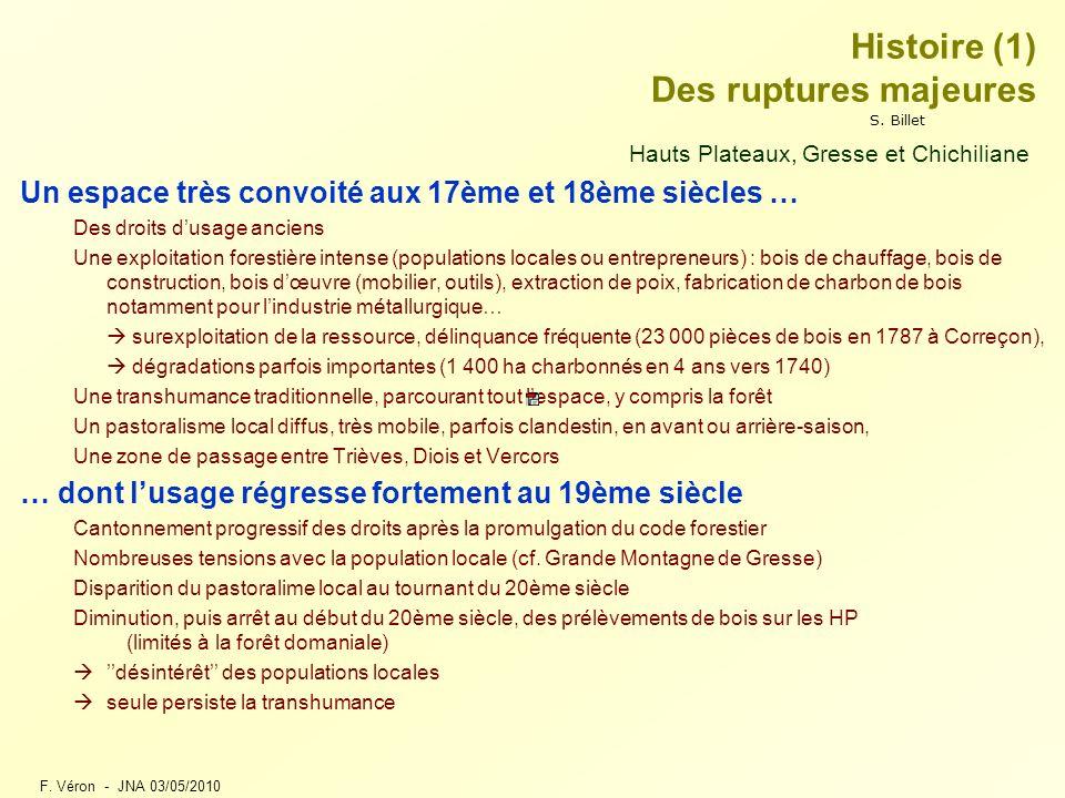F. Véron - JNA 03/05/2010 Histoire (1) Des ruptures majeures Hauts Plateaux, Gresse et Chichiliane Un espace très convoité aux 17ème et 18ème siècles