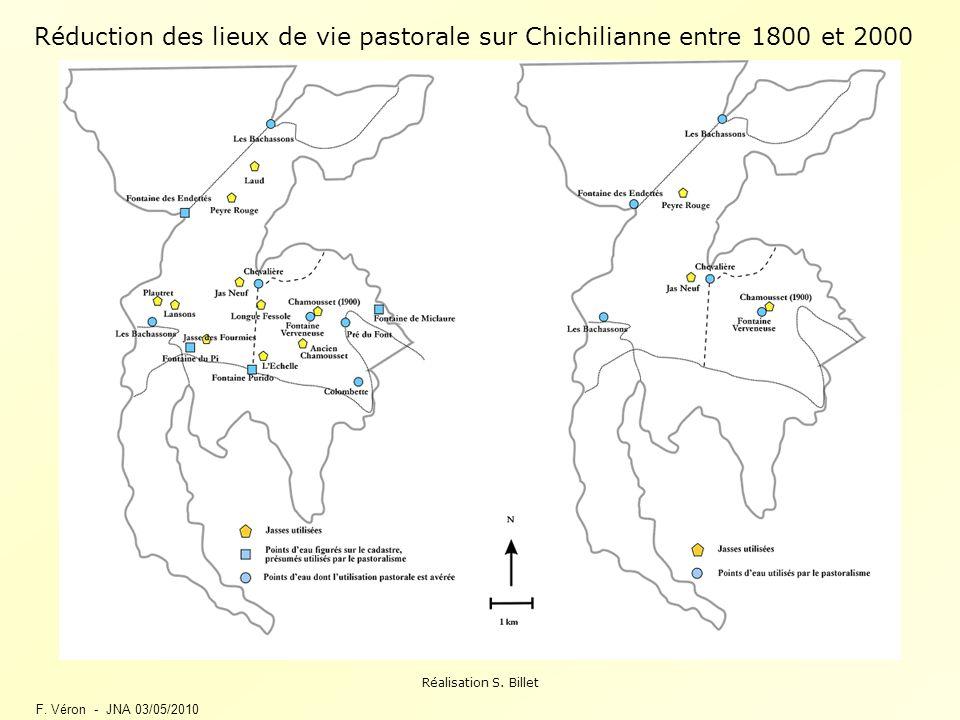 F. Véron - JNA 03/05/2010 Réduction des lieux de vie pastorale sur Chichilianne entre 1800 et 2000 Réalisation S. Billet