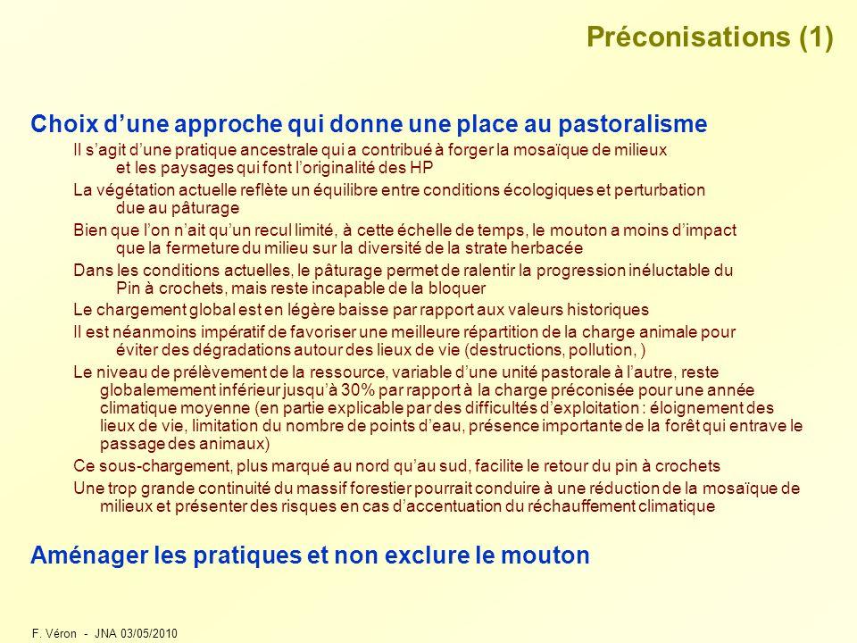 F. Véron - JNA 03/05/2010 Préconisations (1) Choix dune approche qui donne une place au pastoralisme Il sagit dune pratique ancestrale qui a contribué