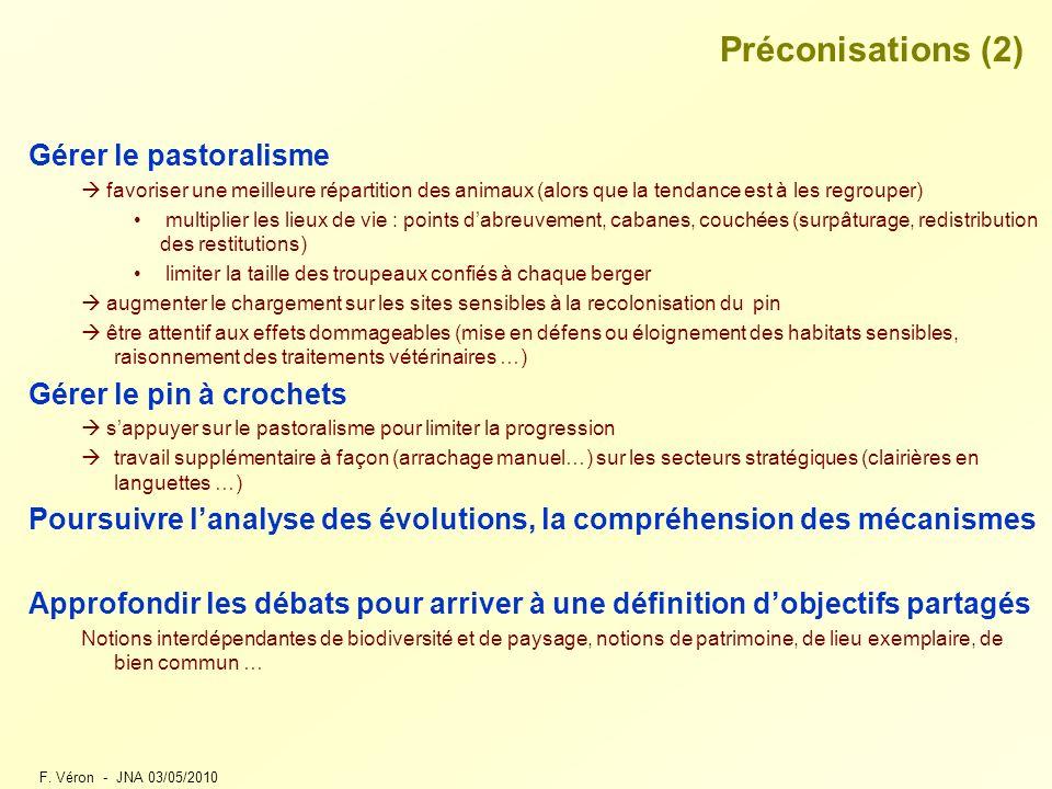 F. Véron - JNA 03/05/2010 Préconisations (2) Gérer le pastoralisme favoriser une meilleure répartition des animaux (alors que la tendance est à les re