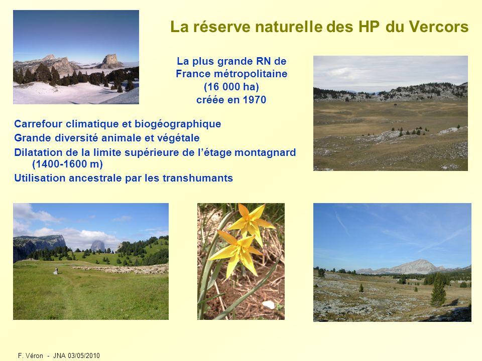 F. Véron - JNA 03/05/2010 La réserve naturelle des HP du Vercors Carrefour climatique et biogéographique Grande diversité animale et végétale Dilatati