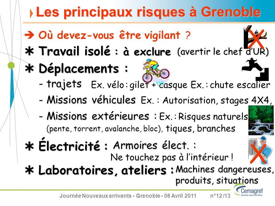 Journée Nouveaux arrivants - Grenoble - 06 Avril 2011n°12 /13 Les principaux risques à Grenoble Travail isolé : à exclure Travail isolé : à exclure -