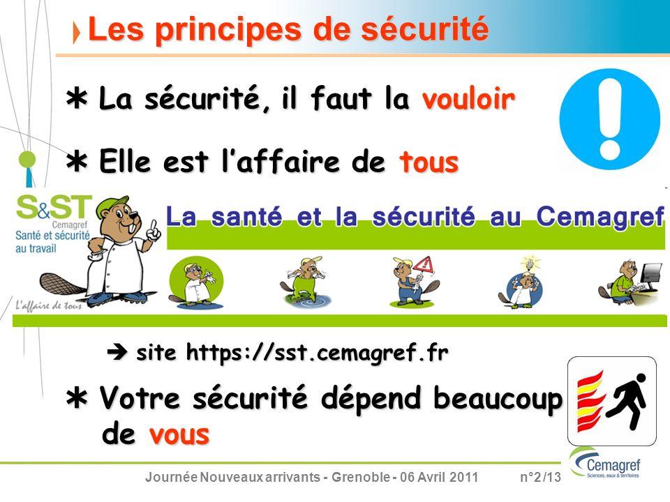 Journée Nouveaux arrivants - Grenoble - 06 Avril 2011n°2 /13 Les principes de sécurité Elle est laffaire de tous Elle est laffaire de tous La sécurité