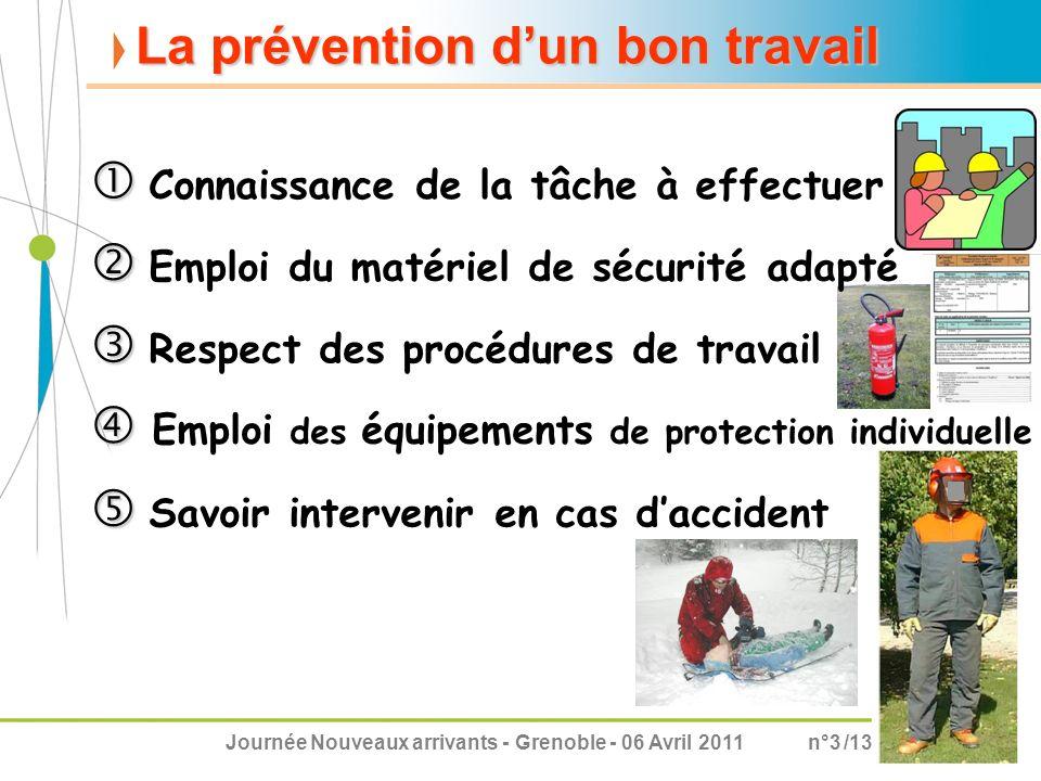 Journée Nouveaux arrivants - Grenoble - 06 Avril 2011n°3 /13 La prévention dun bon travail Connaissance de la tâche à effectuer Respect des procédures