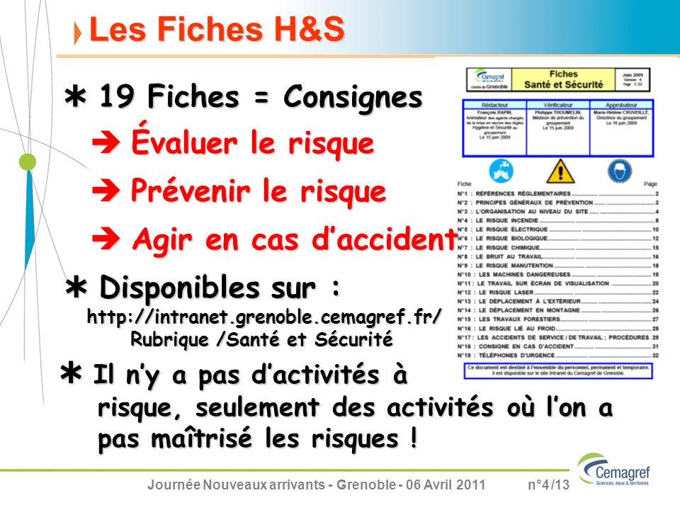 Journée Nouveaux arrivants - Grenoble - 06 Avril 2011n°4 /13 Les Fiches H&S Évaluer le risque Évaluer le risque 19 Fiches = Consignes 19 Fiches = Cons