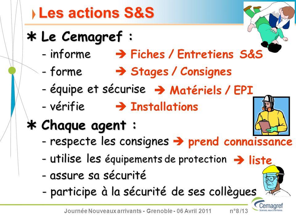 Journée Nouveaux arrivants - Grenoble - 06 Avril 2011n°8 /13 Les actions S&S - informe Le Cemagref : Le Cemagref : - forme - équipe et sécurise - véri