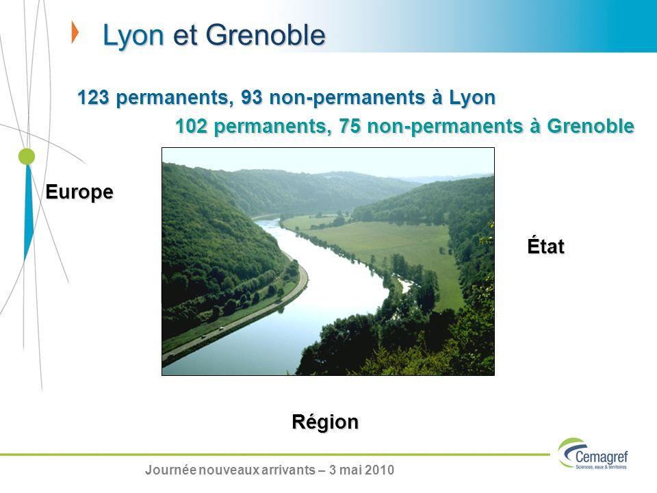 Lyon et Grenoble Eau et Montagne 123 permanents, 93 non-permanents à Lyon Europe État Région 102 permanents, 75 non-permanents à Grenoble Journée nouveaux arrivants – 3 mai 2010