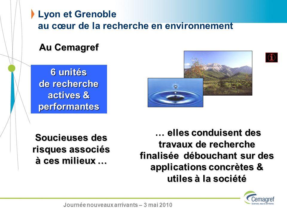 Lyon et Grenoble au cœur de la recherche en environnement 6 unités de recherche actives & performantes elles conduisent des travaux de recherche final
