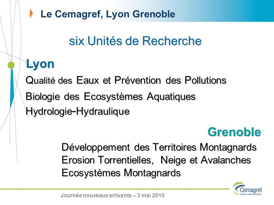 Le Cemagref, Lyon Grenoble six Unités de Recherche Q ualité des E aux et P révention des P ollutions B iologie des E cosystèmes A quatiques H ydrologi