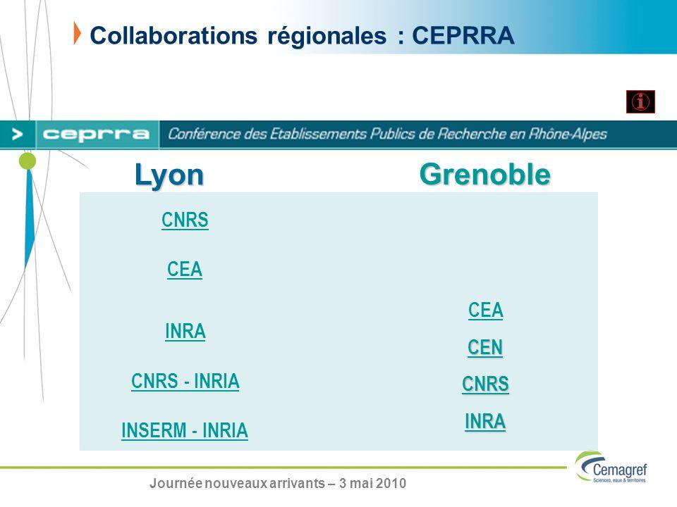 Collaborations régionales : CEPRRA CNRS CEA INRA CNRS - INRIA INSERM - INRIA CEA CEN CNRS INRA Grenoble Lyon Journée nouveaux arrivants – 3 mai 2010