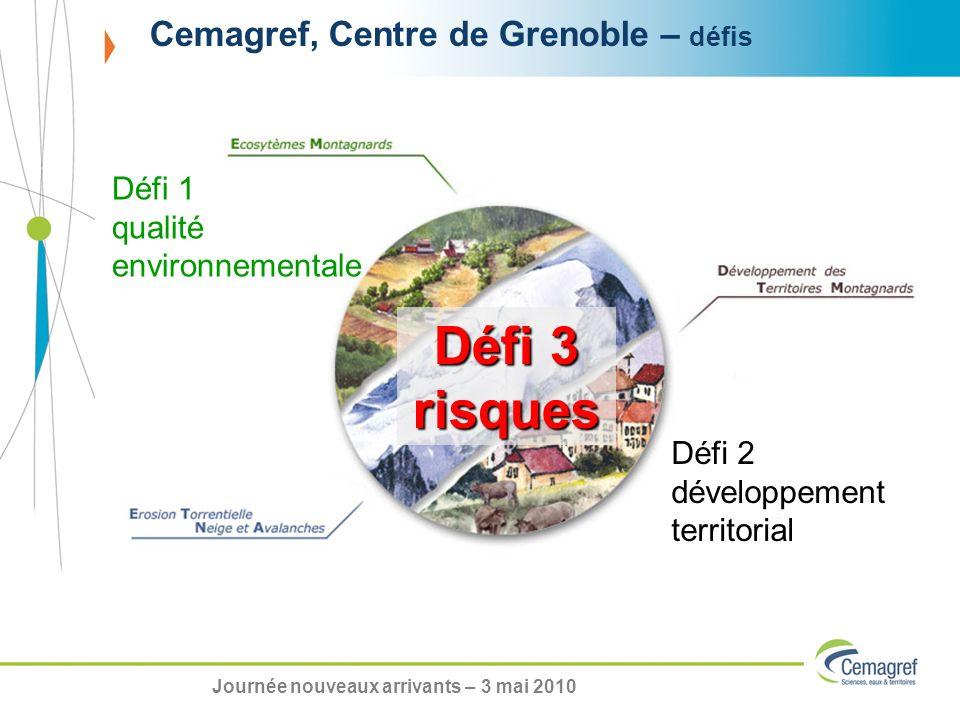 Cemagref, Centre de Grenoble – défis Défi 3 risques Défi 1 qualité environnementale Défi 2 développement territorial Journée nouveaux arrivants – 3 mai 2010