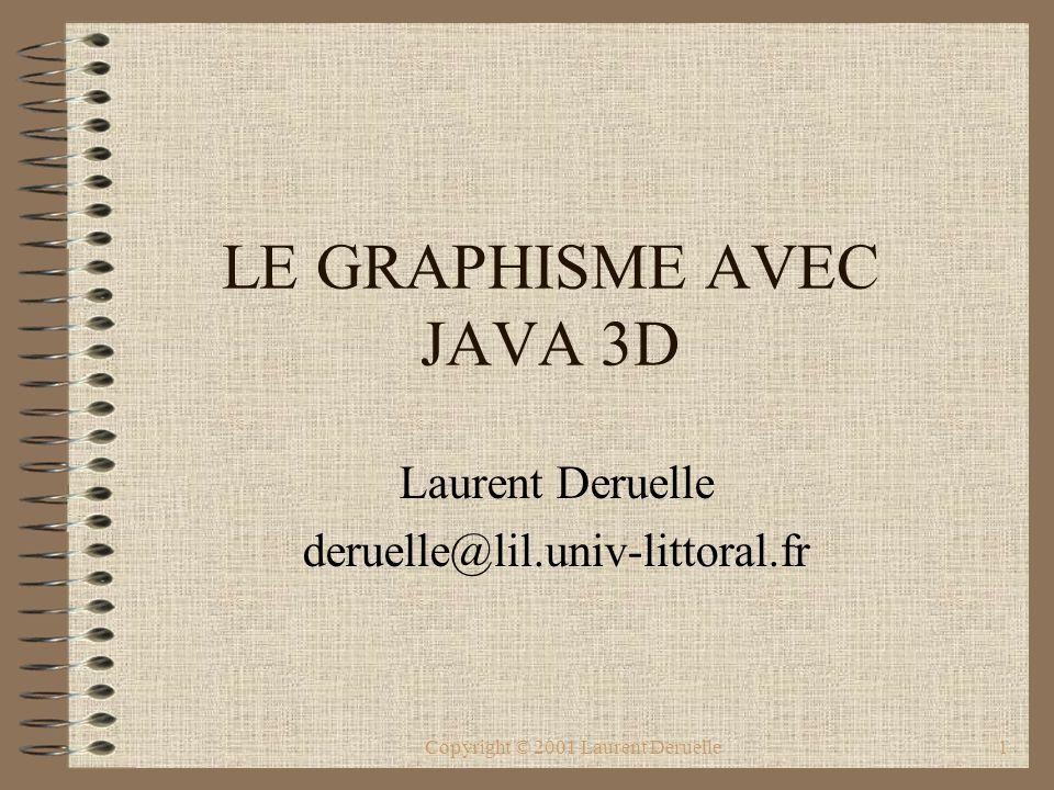 Copyright © 2001 Laurent Deruelle2 L API JAVA3D API JAVA3D –ensemble d interfaces pour des applications 3D à haute performance –gestion de l accélération matérielle (Open GL et Direct3D) –compression des modèles 3D pour un téléchargement rapide (Web 3D).
