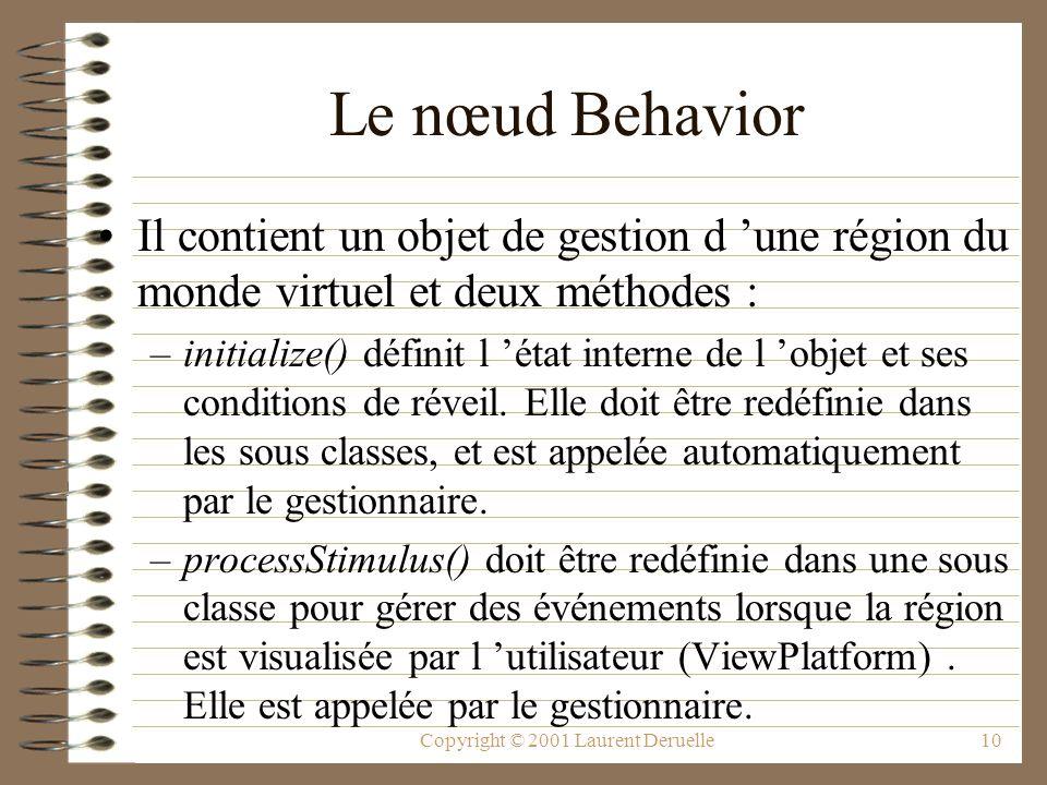 Copyright © 2001 Laurent Deruelle10 Le nœud Behavior Il contient un objet de gestion d une région du monde virtuel et deux méthodes : –initialize() dé
