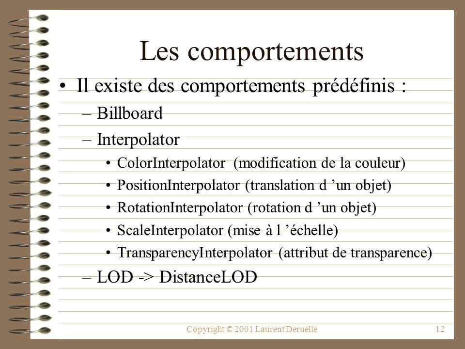 Copyright © 2001 Laurent Deruelle12 Les comportements Il existe des comportements prédéfinis : –Billboard –Interpolator ColorInterpolator (modificatio
