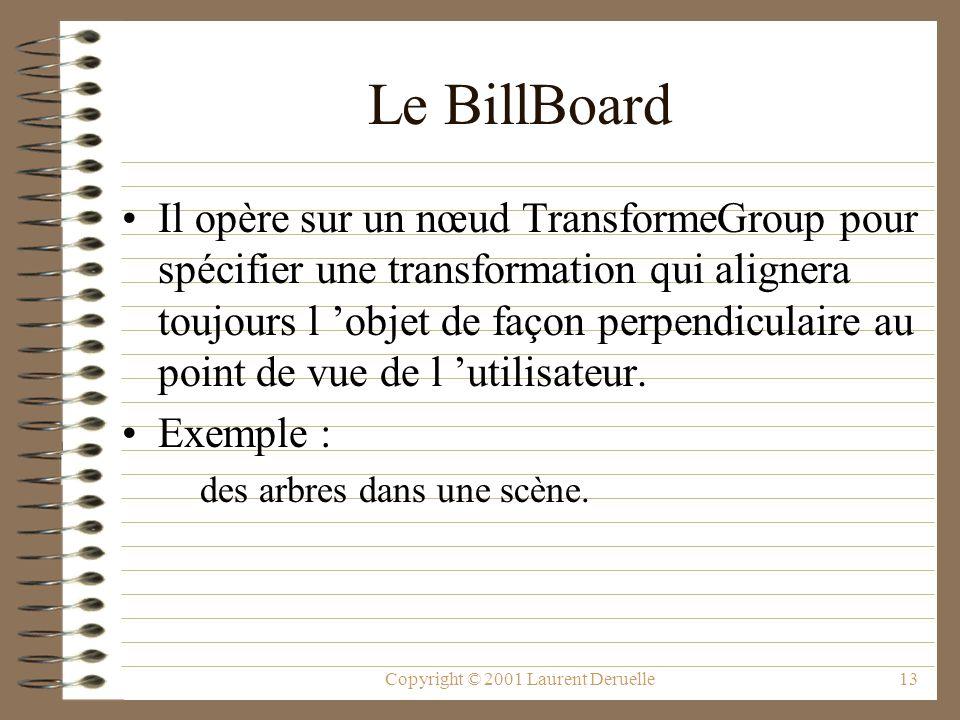 Copyright © 2001 Laurent Deruelle13 Le BillBoard Il opère sur un nœud TransformeGroup pour spécifier une transformation qui alignera toujours l objet
