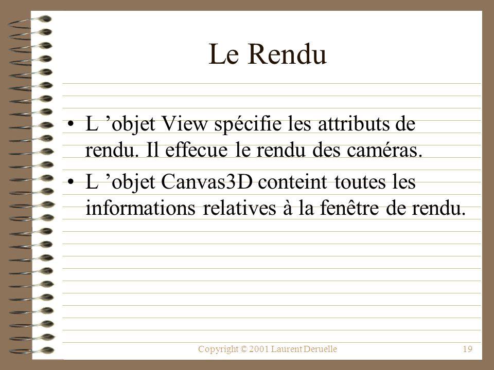 Copyright © 2001 Laurent Deruelle19 Le Rendu L objet View spécifie les attributs de rendu. Il effecue le rendu des caméras. L objet Canvas3D conteint