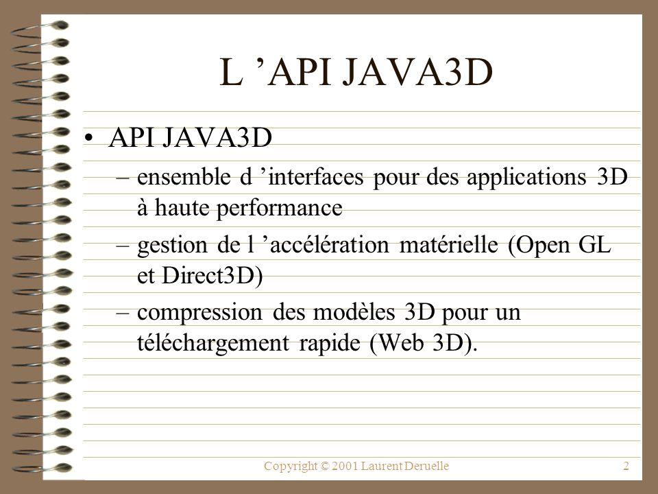 Copyright © 2001 Laurent Deruelle43 Développement d un monde 3D GraphicsConfiguration config =SimpleUniverse.getPreferredConfiguration(); Canvas3D c = new Canvas3D(config); add( Center , c); // createSceneGraph est une méthode à définir BranchGroup scene = createSceneGraph(); u = new SimpleUniverse(c); // Modifie la position de la vue pour que // les objets dans la scène puissent être visualisé.
