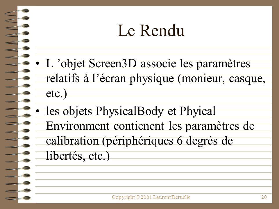 Copyright © 2001 Laurent Deruelle20 Le Rendu L objet Screen3D associe les paramètres relatifs à lécran physique (monieur, casque, etc.) les objets Phy