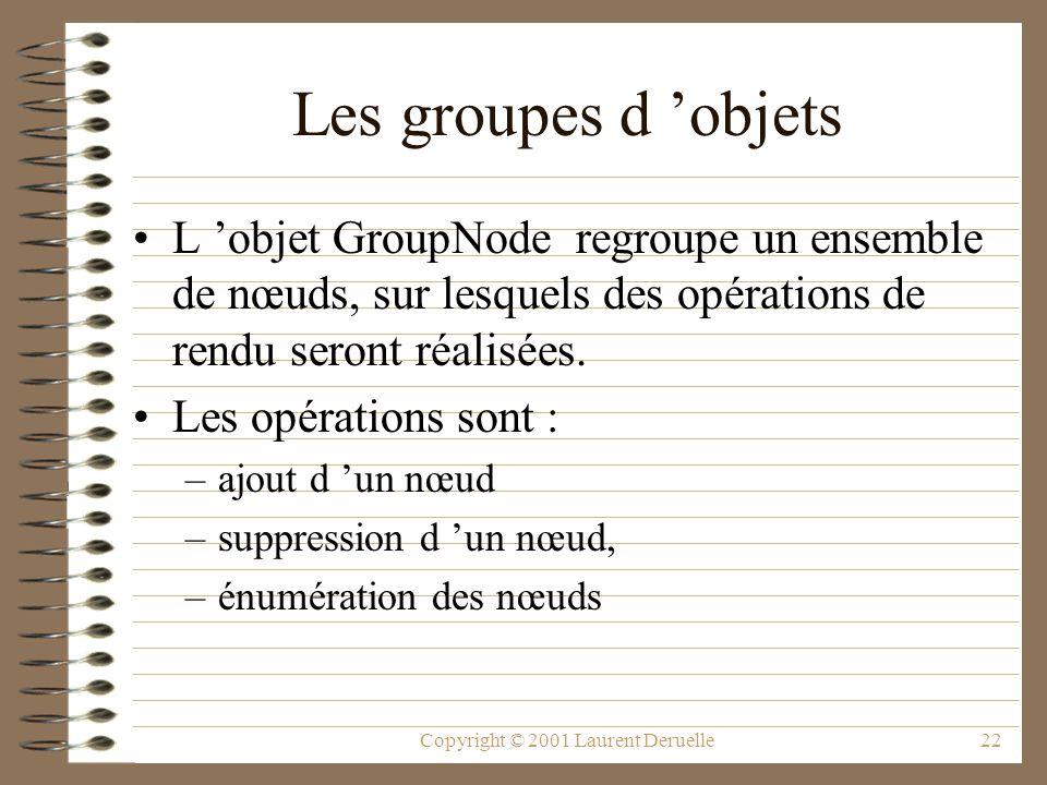 Copyright © 2001 Laurent Deruelle22 Les groupes d objets L objet GroupNode regroupe un ensemble de nœuds, sur lesquels des opérations de rendu seront