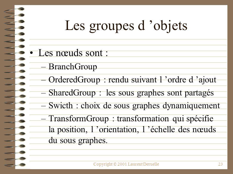 Copyright © 2001 Laurent Deruelle23 Les groupes d objets Les nœuds sont : –BranchGroup –OrderedGroup : rendu suivant l ordre d ajout –SharedGroup : le