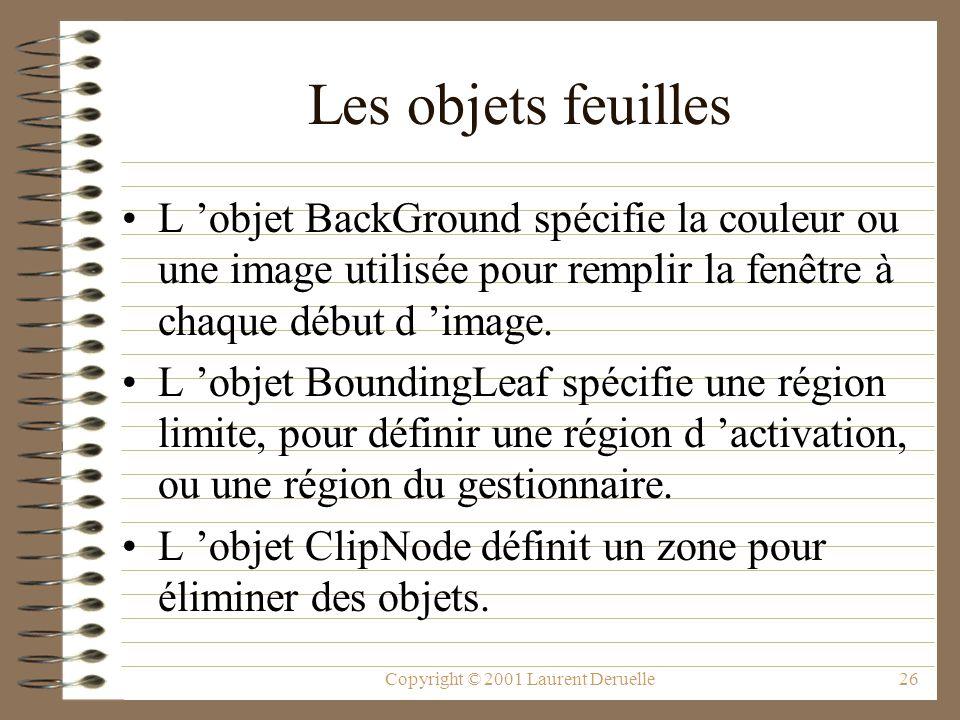 Copyright © 2001 Laurent Deruelle26 Les objets feuilles L objet BackGround spécifie la couleur ou une image utilisée pour remplir la fenêtre à chaque