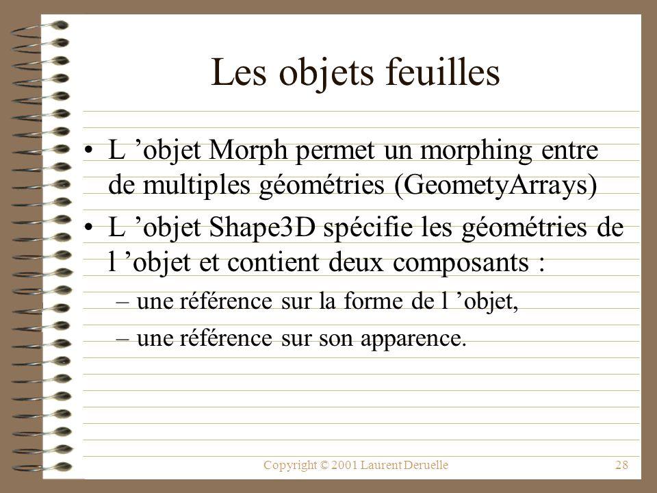 Copyright © 2001 Laurent Deruelle28 Les objets feuilles L objet Morph permet un morphing entre de multiples géométries (GeometyArrays) L objet Shape3D