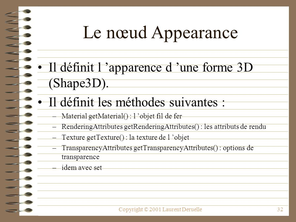 Copyright © 2001 Laurent Deruelle32 Le nœud Appearance Il définit l apparence d une forme 3D (Shape3D). Il définit les méthodes suivantes : –Material