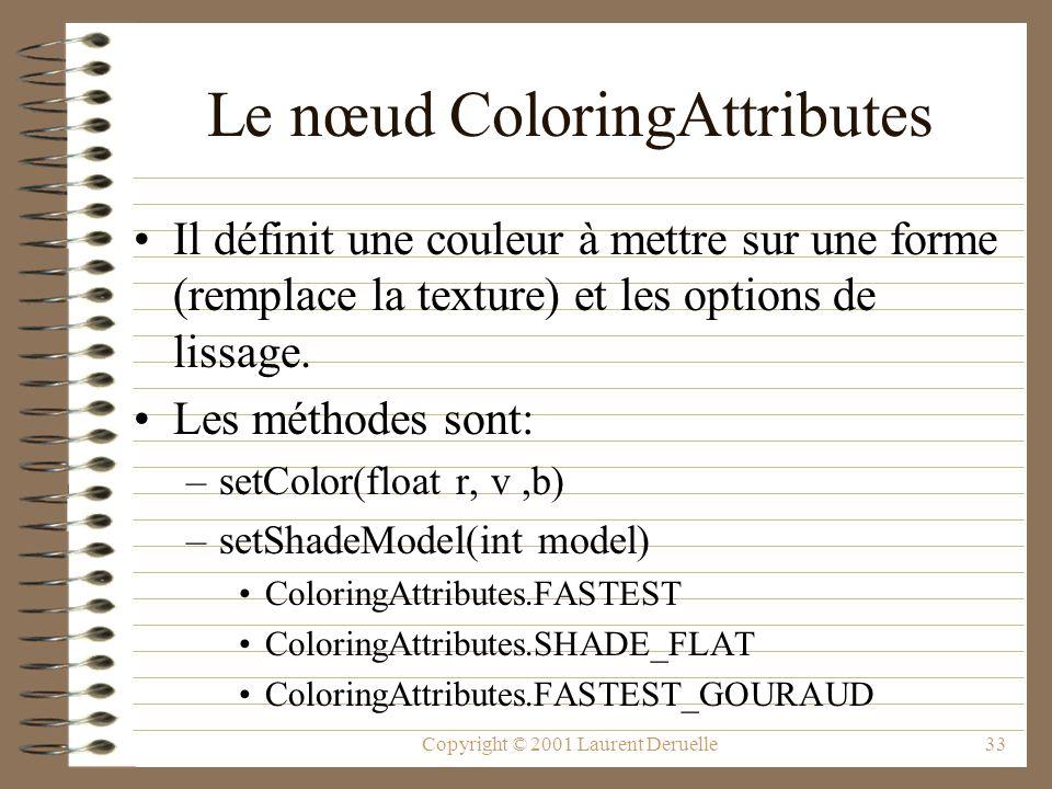 Copyright © 2001 Laurent Deruelle33 Le nœud ColoringAttributes Il définit une couleur à mettre sur une forme (remplace la texture) et les options de l
