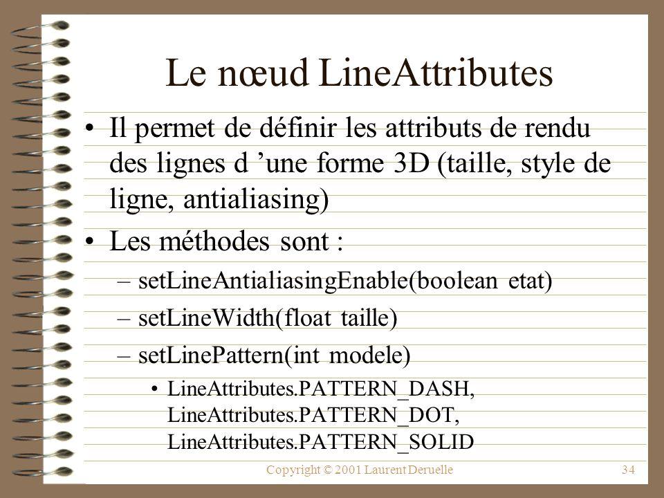 Copyright © 2001 Laurent Deruelle34 Le nœud LineAttributes Il permet de définir les attributs de rendu des lignes d une forme 3D (taille, style de lig