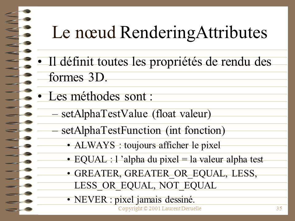 Copyright © 2001 Laurent Deruelle35 Le nœud RenderingAttributes Il définit toutes les propriétés de rendu des formes 3D. Les méthodes sont : –setAlpha