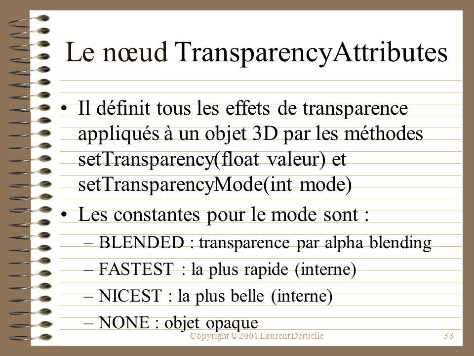 Copyright © 2001 Laurent Deruelle38 Le nœud TransparencyAttributes Il définit tous les effets de transparence appliqués à un objet 3D par les méthodes