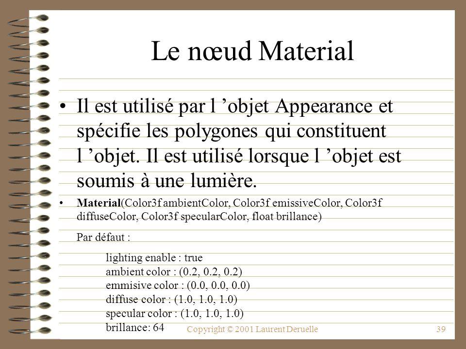 Copyright © 2001 Laurent Deruelle39 Le nœud Material Il est utilisé par l objet Appearance et spécifie les polygones qui constituent l objet. Il est u