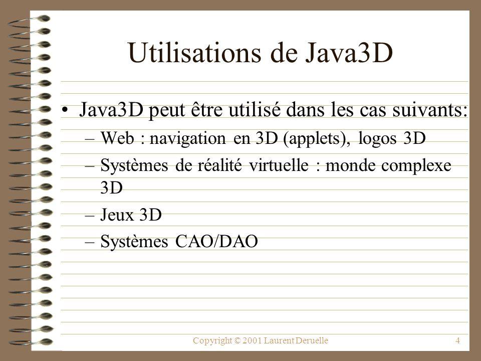 Copyright © 2001 Laurent Deruelle4 Utilisations de Java3D Java3D peut être utilisé dans les cas suivants: –Web : navigation en 3D (applets), logos 3D