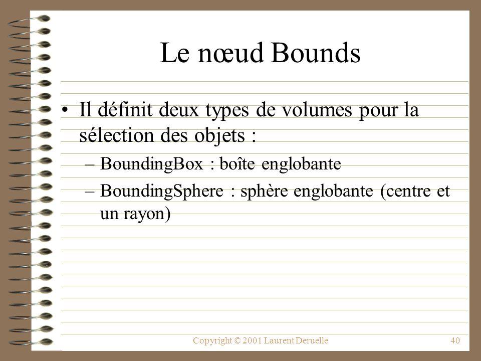 Copyright © 2001 Laurent Deruelle40 Le nœud Bounds Il définit deux types de volumes pour la sélection des objets : –BoundingBox : boîte englobante –Bo