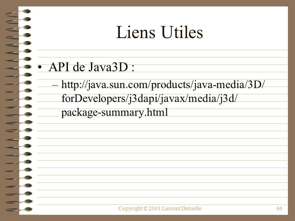 Copyright © 2001 Laurent Deruelle46 Liens Utiles API de Java3D : –http://java.sun.com/products/java-media/3D/ forDevelopers/j3dapi/javax/media/j3d/ pa