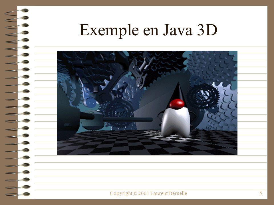 Copyright © 2001 Laurent Deruelle46 Liens Utiles API de Java3D : –http://java.sun.com/products/java-media/3D/ forDevelopers/j3dapi/javax/media/j3d/ package-summary.html