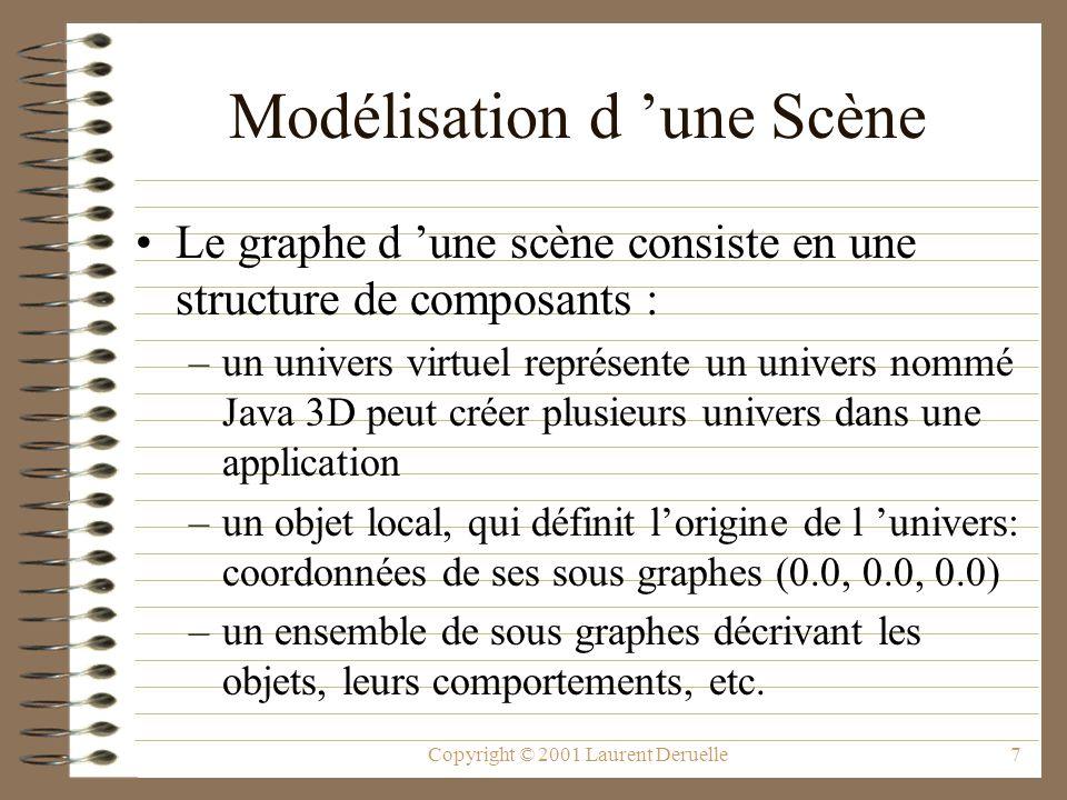 Copyright © 2001 Laurent Deruelle28 Les objets feuilles L objet Morph permet un morphing entre de multiples géométries (GeometyArrays) L objet Shape3D spécifie les géométries de l objet et contient deux composants : –une référence sur la forme de l objet, –une référence sur son apparence.