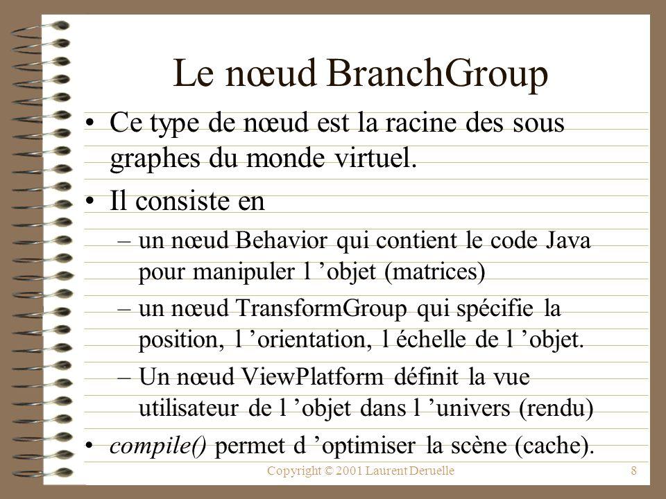 Copyright © 2001 Laurent Deruelle8 Le nœud BranchGroup Ce type de nœud est la racine des sous graphes du monde virtuel. Il consiste en –un nœud Behavi