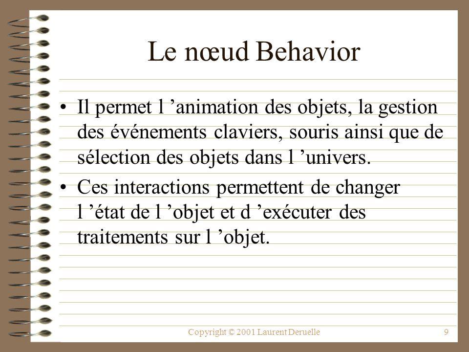 Copyright © 2001 Laurent Deruelle10 Le nœud Behavior Il contient un objet de gestion d une région du monde virtuel et deux méthodes : –initialize() définit l état interne de l objet et ses conditions de réveil.