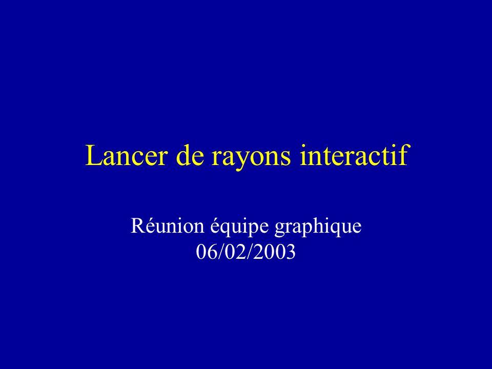 Lancer de rayons interactif Réunion équipe graphique 06/02/2003