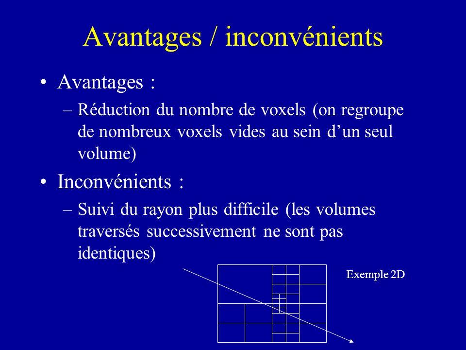 Avantages / inconvénients Avantages : –Réduction du nombre de voxels (on regroupe de nombreux voxels vides au sein dun seul volume) Inconvénients : –S