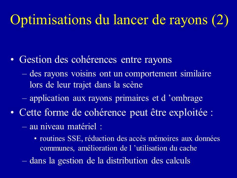 Optimisations du lancer de rayons (2) Gestion des cohérences entre rayons –des rayons voisins ont un comportement similaire lors de leur trajet dans l
