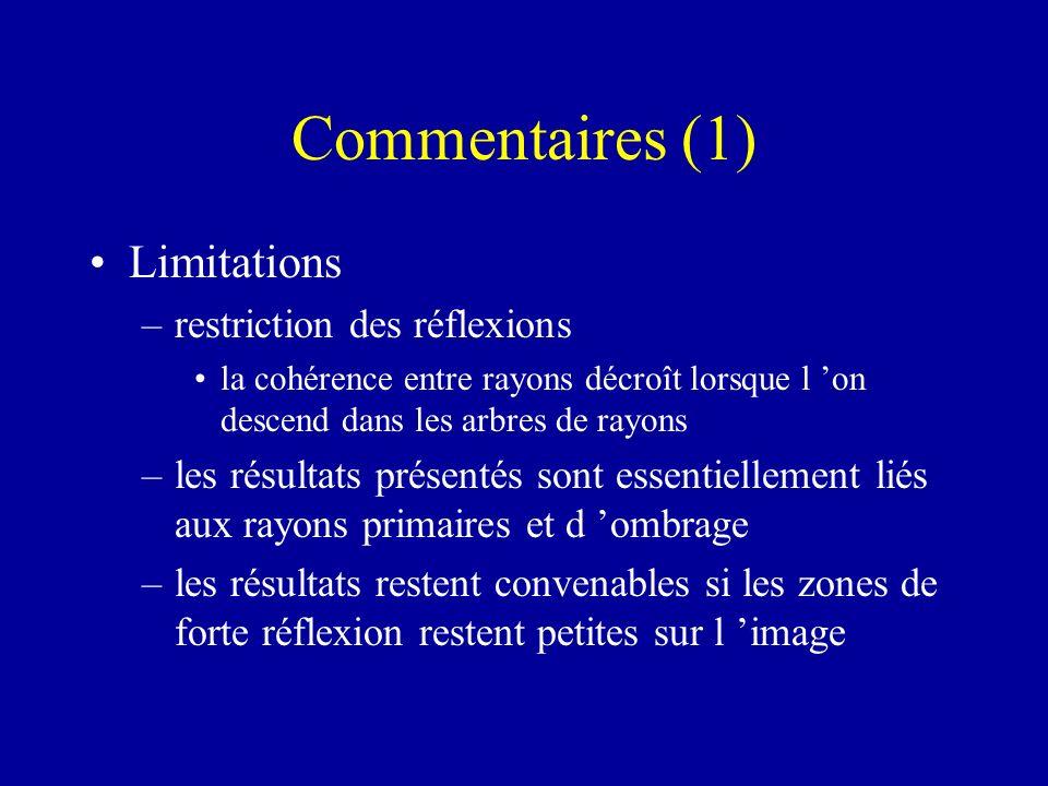 Commentaires (1) Limitations –restriction des réflexions la cohérence entre rayons décroît lorsque l on descend dans les arbres de rayons –les résulta